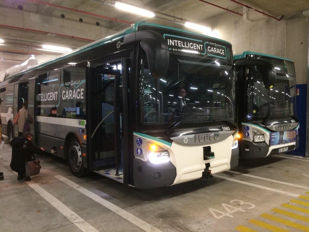 iveco autonomous bus intelligent garage paris